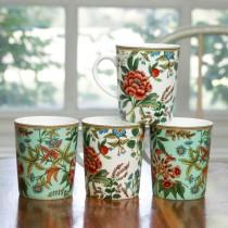 2A Eastern Crewel Bone China Mugs, Set of 4