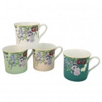 4 Asst Black Mint Wisteria  Mugs, Set of 4