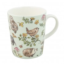 Forest Bird Mint Bone China Mugs, Set of 4