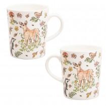 Forest Deer and Bear Bone China Mugs, Set of 4