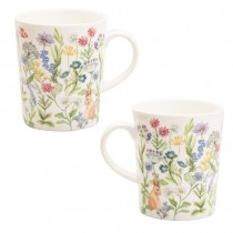Forest  Bunny Bone China Mugs, Set of 4