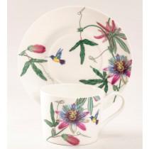 Hummingbird Garden Cups and Saucers, Set of 4