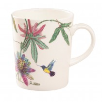 Hummingbird Garden Bone China Mugs, Set of 4