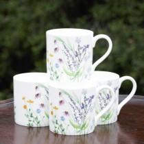 Meadow Purple Bone China Mugs, Set of 4