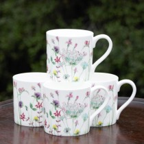 Meadow Pink Bone China Mugs, Set of 4