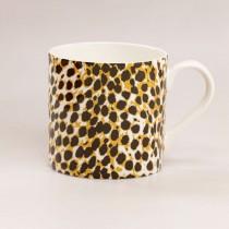 Black Jungle Cat Bone China Coffee Mugs, Set of 4