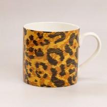 Brown Jungle Cat Bone China Coffee Mugs, Set of 4