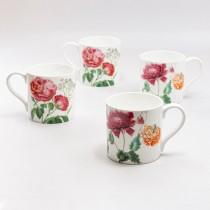 2 ASST Peony Garden  Bone China Coffee Mugs, Set of 4