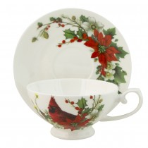 Cardinal Poinsettia Bone China Cups with Saucers, Set of 4
