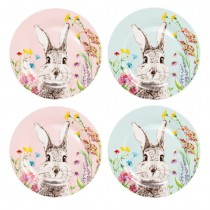Forest Bunny Face  Bone China Deseert Plates, Set of 4