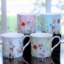 4 Asst Pastel color Bunny Bone China Mugs, Set of 4