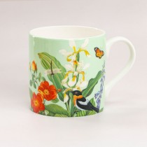 Mint Tropical Bone China Coffee Mugs, Set of 4