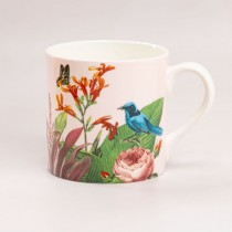 Pink Tropical Bone China Coffee Mugs, Set of 4