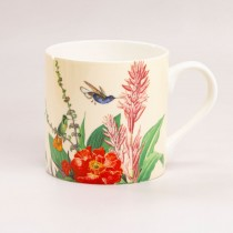 Cream Tropical Bone China Coffee Mugs, Set of 4