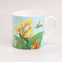 Blue Tropical Bone China Coffee Mugs, Set of 4