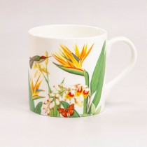 Bird of Paradise Garden Bone China Coffee Mugs, Set of 4