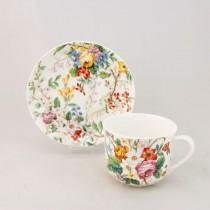 Bone China Lismore Rose Garden Breakfast/Jumbo Cups and Saucers, Set of 4