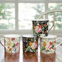 Bone China Lismore Rose Garden Tea/coffee Mugs, Set of 4