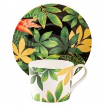 Green Gold Leaves Bone China Coffee Cups and Saucers, Set of 4