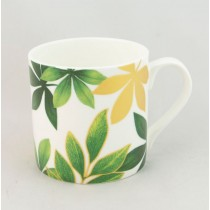 Green Gold Leaves Bone China Coffee Mugs, Set of 4