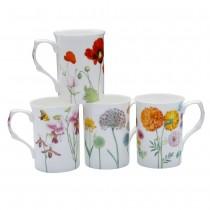 4 ASST Stem Floral Bone China Can Mugs, Set of4