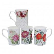 4 ASST Garden Rose Bone China Can Mugs, Set of 4