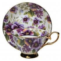 Pansy  Gold Tea Cup and Saucer, Single Set