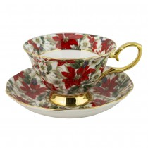 Gold Poinsettia Chintz Bone China Cups with Saucers Single Set