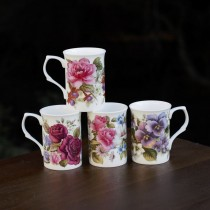 4 Assorted Classic Floral  Can Mugs, Set of 4
