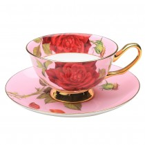 Pink/red Rose Gold Tea Cup and Saucer, Single Set