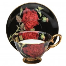 Black/red Rose Gold Tea Cup and Saucer, Single Set