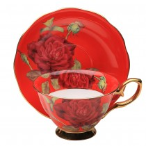 Red/red Rose Gold Tea Cup and Saucer, Single Set