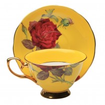 Yellow/red Rose Gold Tea Cup and Saucer, Single Set