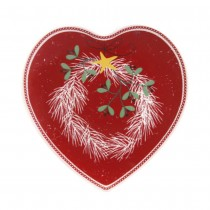 Winter Joy and Pine Wreath  Heart  Plates, Set of 4