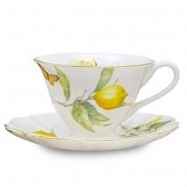 Lemon Tea Cup Saucer, Set of 4