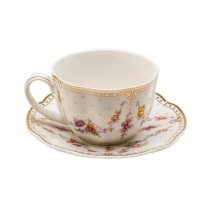 Rose Swag Tea Cups and Saucers, Set of 4