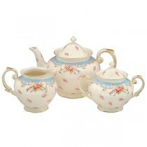 Blue Vintage Rose Teapot / Sugar and Creamer