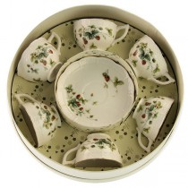 Strawberry Field Cup/Saucer Set of 6, Round Gift Boxed