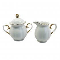 White Gold  Scallop Sugar Creamer Teapot
