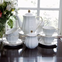 Gold White Scallop  White Gold 11 Piece Tea Set