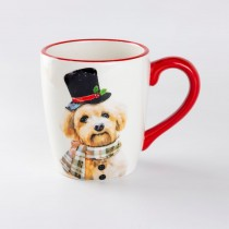 Christmas Dog Ceramic Mug, Set of 4