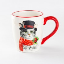 Christmas Cat Ceramic Mug, Set of 4