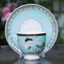 Crane Pine Tree Turq Tea Cup Saucer, Set of 2