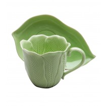 Green Leave Cups & Saucers, Set of 4