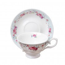 Claudia Rose Cups and Saucers Set, Set of 4