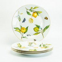 Crafted Gold Bee Lemon Salad Plates, Set of 4