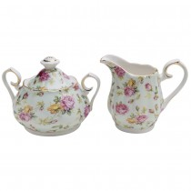 Blue Cottage Rose Chintz Sugar Creamer Set