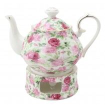 Pink Summer Rose Chintz Teapot and Warmer 2 Piece Set
