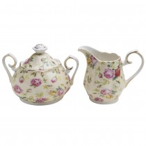 Cream Cottage Rose Chintz Sugar Creamer Set