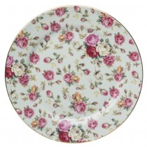 Blue Cottage Rose Chintz Dessert Plates, Set of 4